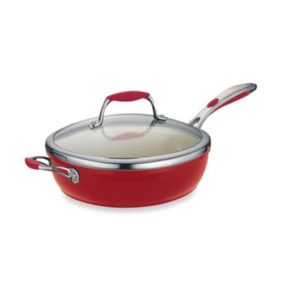 Tramontina® Gourmet Ceramica Deluxe 11-Inch Covered Deep Skillet in Red