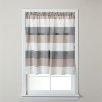 Baltic Linen Yarn-Dyed Strata Striped Window Curtain Tier Pair in Multi