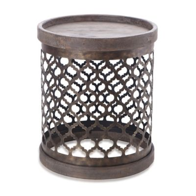 Intelligent Design Cirque Quatrefoil Metal Drum Table in Grey