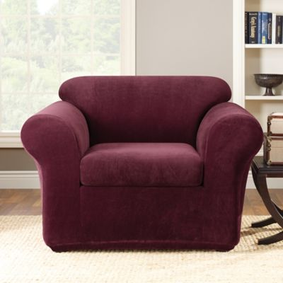 Sure Fit® Stretch Metro 2-Piece Chair Slipcover in Burgundy