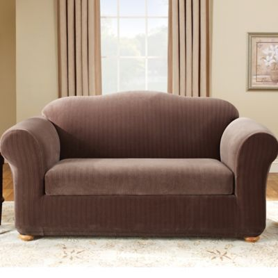 Stretch Pinstripe 2-Piece Loveseat Slipcover in Cream