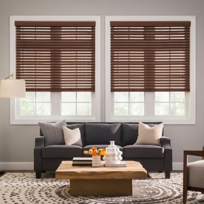 Real Simple® Cordless Faux Wood 57.5-Inch x 48-Inch Blind in Mocha