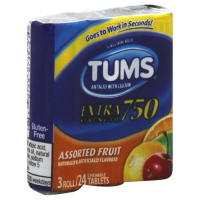 TUMS® Extra Strength 3-Pack 24-Count Chewable Antacid Tablets in Assorted Fruit