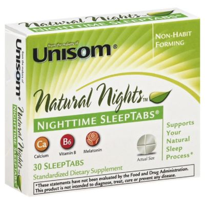 Unisom® Natural Nights™ 30-Count Nighttime SleepTabs® Tablets