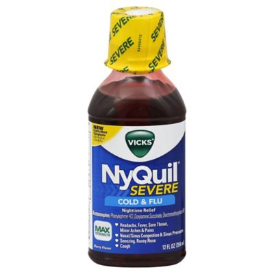 Vicks® NyQuil® 12 oz. Severe Cold and Flu Nighttime Reflief Liquid Soothing Berry Flavor