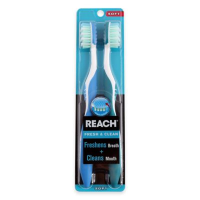 Reach® Fresh & Clean Soft Toothbrush with Tongue Freshener (2 Pack)