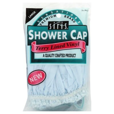 Siris® Large Terry Lined Vinyl Shower Cap with Lace Trim