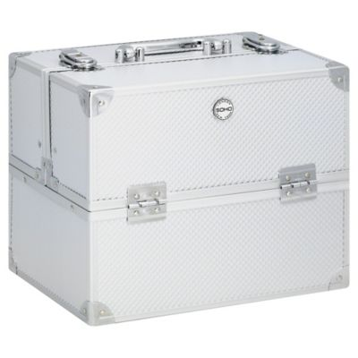 Soho Large Textured Diamond Train Case in Silver