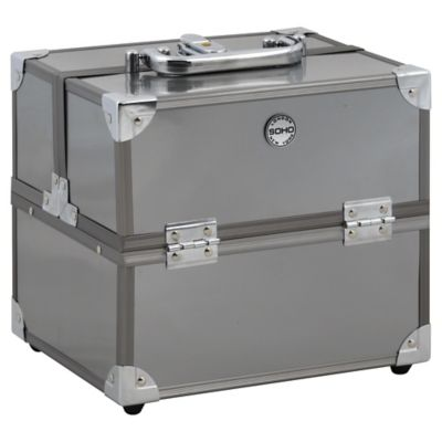 Soho Medium Train Case in Metallic Silver