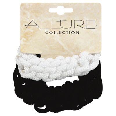 Allure 2-Pack Crochet Ponytail Holder in Black/White