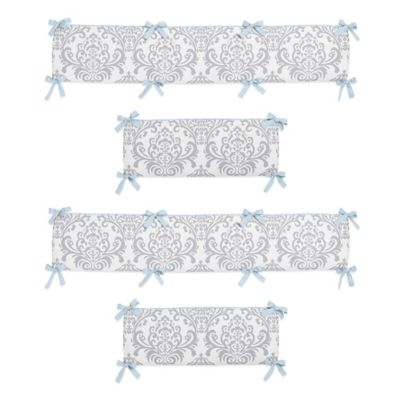 Sweet Jojo Designs Avery Crib Bumper in Blue and Grey