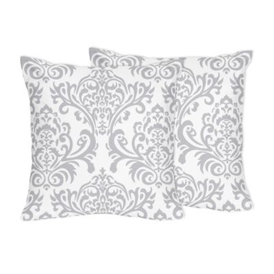 Sweet Jojo Designs Damask Throw Pillows in Grey /White (Set of 2)