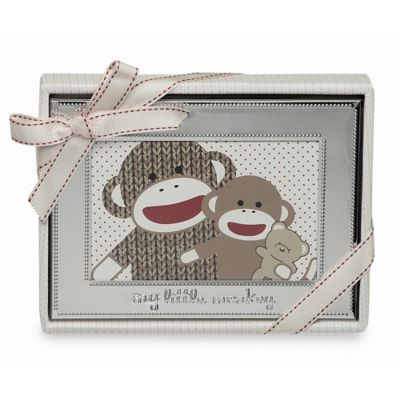 Baby Starters Sock Monkey 5-Inch x 7-Inch Photo Frame in Silver