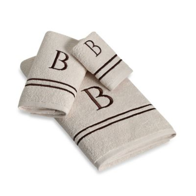 "Avanti Monogram Block Letter ""A"" Bath Towel in Ivory"
