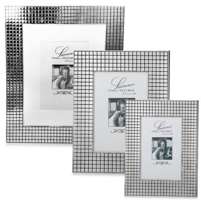 Lawrence Frames Silver-Plated 8-Inch x 10-Inch Hollywood Picture Frame with Metal Squares