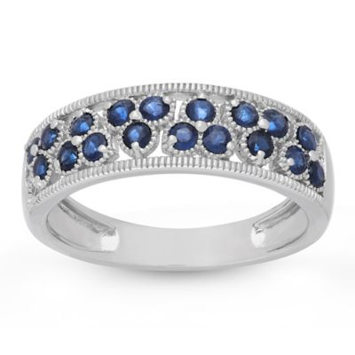Badgley Mischka® The Romantics 14K White Gold Blue Sapphire and Milgrain Size 8 Ladies' Ring