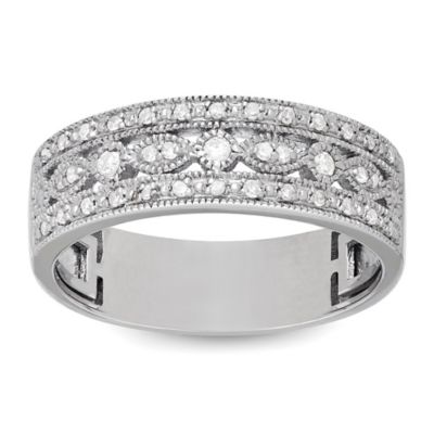 Badgley Mischka® The Romantics Sterling Silver .16 cttw Diamond Size 8 Ladies' Triple Row Band