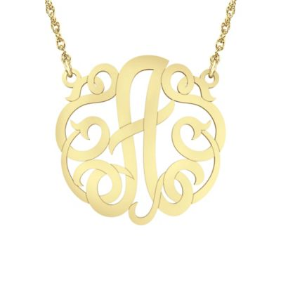 "Alison & Ivy 14K Yellow Gold Over Sterling Silver 18-Inch Chain Ribbon Letter ""A"" Necklace"