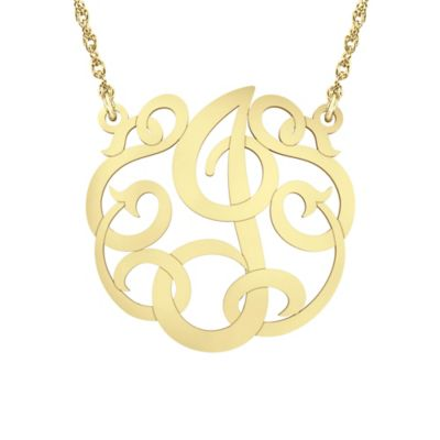 """Alison & Ivy 14K Yellow Gold Over Sterling Silver 18-Inch Chain Ribbon Letter """"J"""" Necklace"""