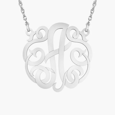 "Alison & Ivy Sterling Silver 18-Inch Chain Ribbon Letter ""J"" Necklace"