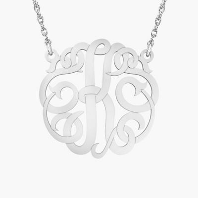 """Alison & Ivy Sterling Silver 18-Inch Chain Ribbon Letter """"K"""" Necklace"""