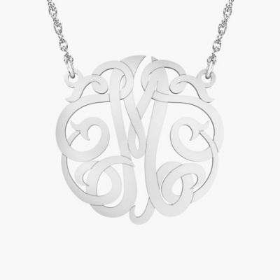 "Alison & Ivy Sterling Silver 18-Inch Chain Ribbon Letter ""M"" Necklace"