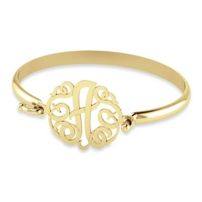 "Alison & Ivy 14K Yellow Gold Plated 30mm Ribbon Letter ""A"" Bangle"