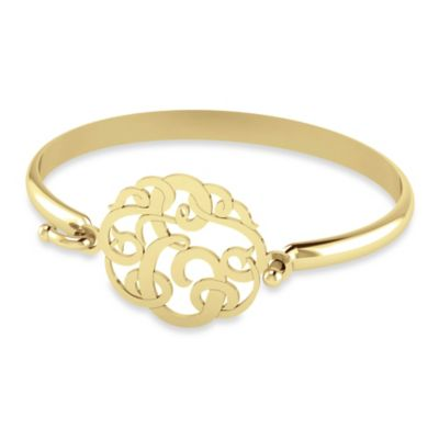 """Alison & Ivy 14K Yellow Gold Plated 30mm Ribbon Letter """"E"""" Bangle"""