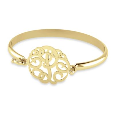 """Alison & Ivy 14K Yellow Gold Plated 30mm Ribbon Letter """"P"""" Bangle"""