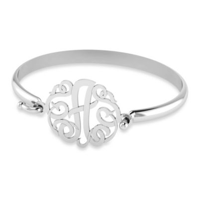 "Alison & Ivy Sterling Silver 30mm Ribbon Letter ""R"" Bangle"