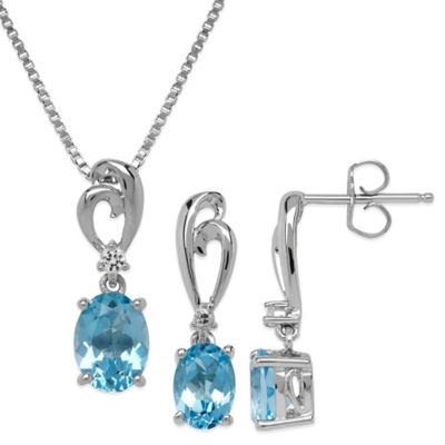 Sterling Silver Blue Topaz and White Topaz Sapphire 2-Piece Earring and Pendant Set