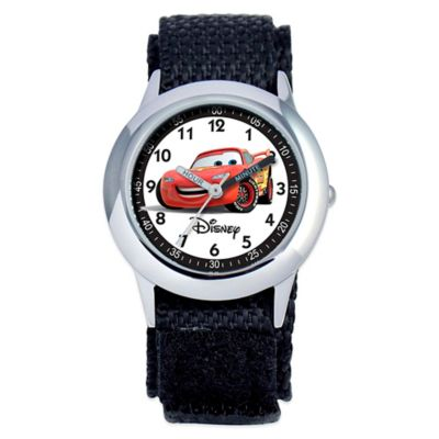 Disney® Children's 30mm Cars Time Teacher Watch in Stainless Steel with Black Velcro® Strap