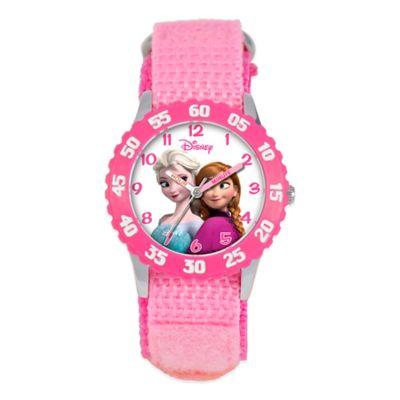 "Disney® Children's 32mm Anna and Snow Queen Elsa ""Frozen"" Watch in Pink"