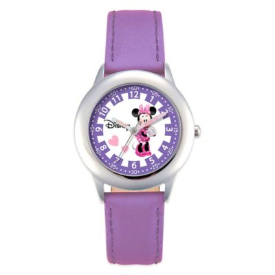 Disney® Children's 30mm Pretty in Purple Minnie Mouse Watch in Stainless Steel with Purple Strap