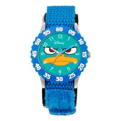 Disney® Children's Agent P Time Teacher Numbered Bezel Watch in Stainless Steel w/Blue Strap
