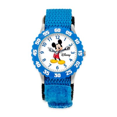 Disney® Children's Mickey Mouse Time Teacher Watch in Stainless Steel with Articulating Hands