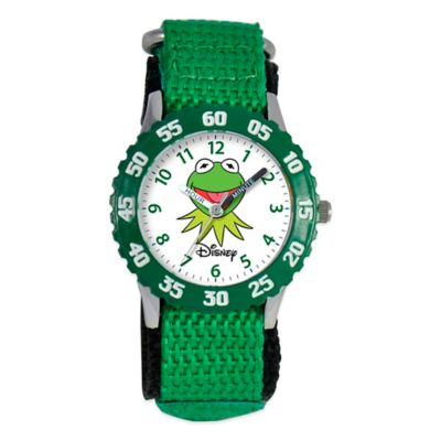 "Disney® Children's ""Muppets"" Kermit the Frog Time Teacher Watch in Stainless Steel w/Green Strap"