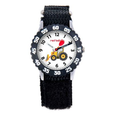 Red Balloon Children's 32mm Construction Site Time Teacher Watch in Stainless Steel with Black Strap
