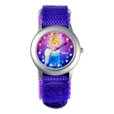 Disney® Children 32mm Glitz Cinderella Time Teacher Watch in Stainless Steel with Purple Strap