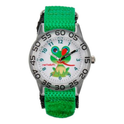Red Balloon Children's 32mm Frog Watch in Stainless Steel with Green Strap