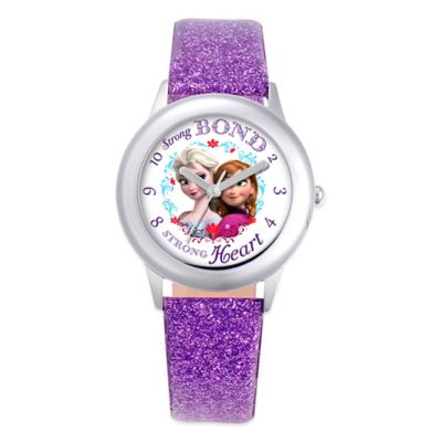 "Disney® Children's 32mm Anna and Elsa ""Frozen"" Watch with Purple Glitter Strap"