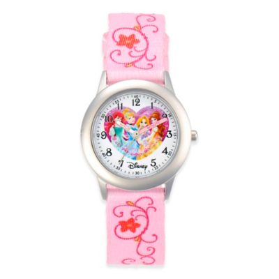 Disney® Children's 32mm Princess Watch in Stainless Steel with Pink Nylon Strap