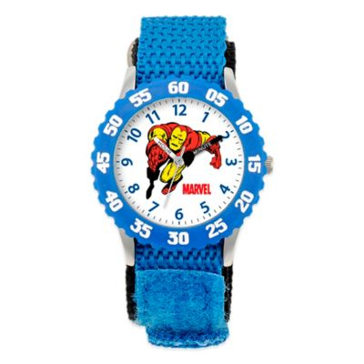 Marvel Children's 32mm Iron Man Time Teacher Watch in Stainless Steel with Blue Strap