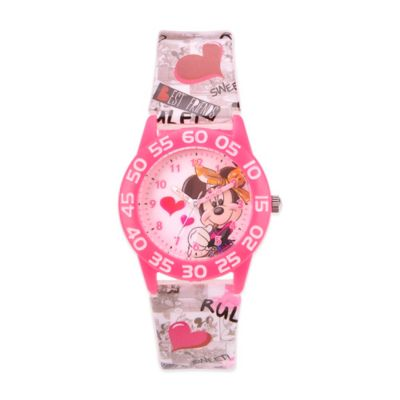 Disney® Children's 32mm Minnie Mouse Hearts Plastic Watch in Pink