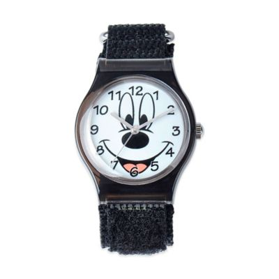 Disney® Children's 33mm Mickey Mouse Face Plastic Watch in Black