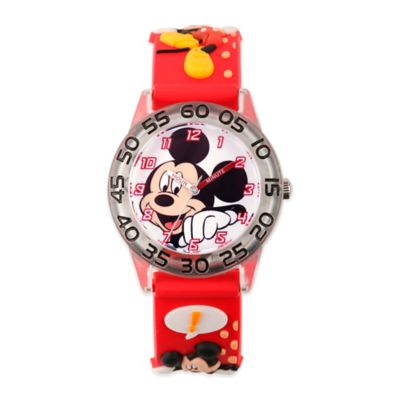 Disney® Children's 32mm Mickey Mouse 3D Plastic Watch in Red