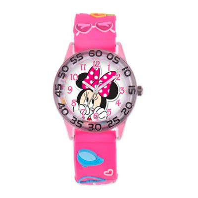 Disney® Children's 32mm Shy Minnie Mouse 3D Plastic Watch in Pink