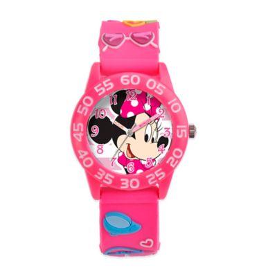 Disney® Children's 32mm Minnie Mouse Fashionista 3D Plastic Watch in Pink
