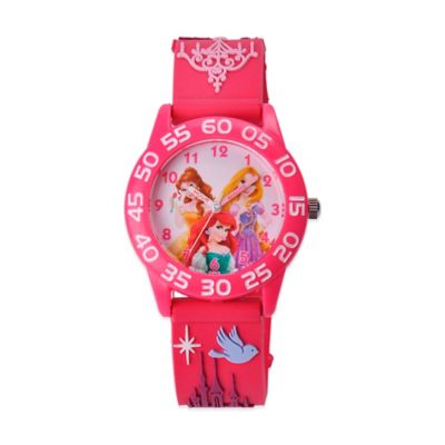 Disney® Children's 32mm Princess Ariel, Belle and Rapunzel 3D Plastic Watch in Peach