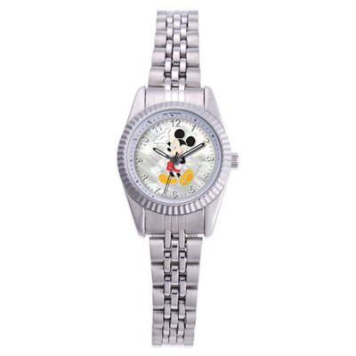 Disney® Ladies' 26mm Mickey Mouse Enamel Watch in Stainless Steel